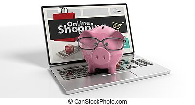 Piggy bank on a laptop. 3d illustration