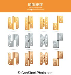 Door Hinge Vector. Set Classic And Industrial Ironmongery...