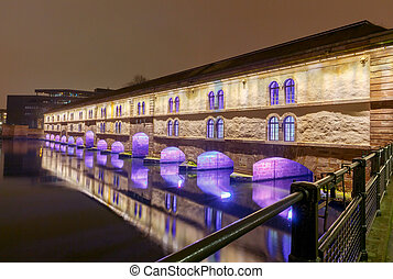 Strasbourg. Vauban Dam at night.