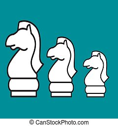 Chess figure horse on a blue background