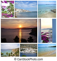 photo collage of Andros Greece