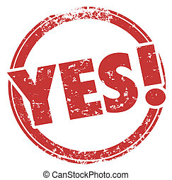 Yes Accepted Approved Word Red Round Stamp 3d Illustration