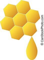 Honey icon on white background - Honeycomb logo for company...
