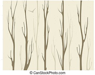 dry branches of bamboo trees with bird