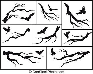 set of branches and birds on white background