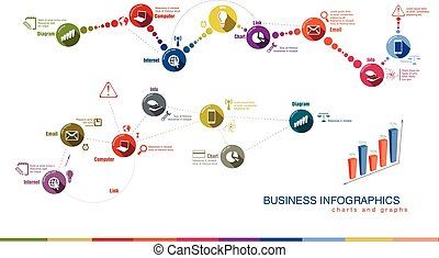 business charts and graphs on white background