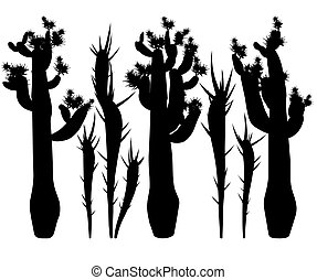 Silhouettes of cacti. - Silhouettes of cacti and thorns on a...