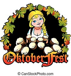 Oktoberfest girl Girl with beer Vector art-illustration