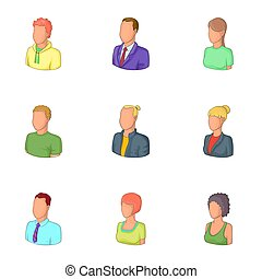 Man and woman avatars icons set, cartoon style - Man and...