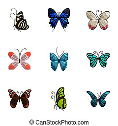 Tropical butterfly icons set, cartoon style - Tropical...