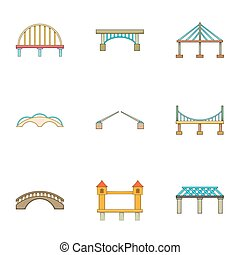 River crossing icons set, cartoon style - River crossing...