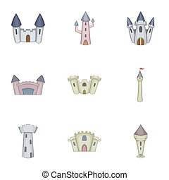 Citadel and chateau fortress icons set. Cartoon illustration...