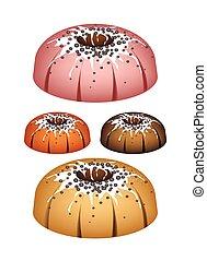 Four Bundt Cake Topped with Sugar Glaze and Sprinkles -...