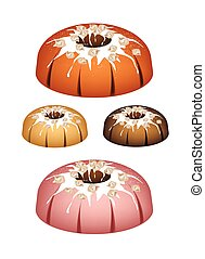 Four Bundt Cake Topped with Sugar Glaze and Nuts -...