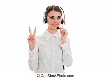 horizontal portrait of young cheerful call office worker...