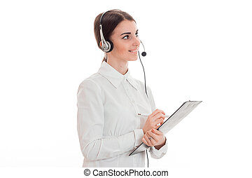 horizontal portrait of young attractive call office worker...
