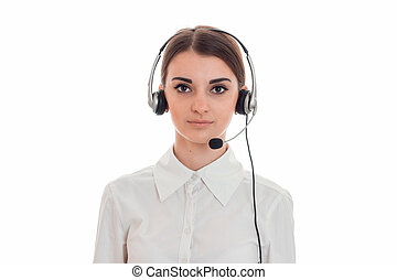 horizontal portrait of young beauty call office worker girl...