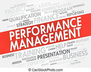 Performance Management word cloud collage, business concept...