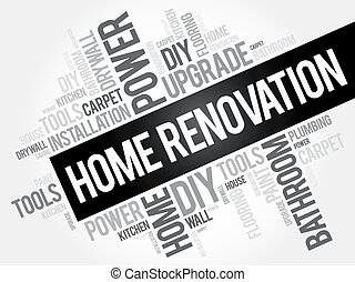 Home Renovation Word Cloud, business concept collage...
