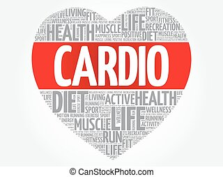 CARDIO heart word cloud, fitness, sport, health concept