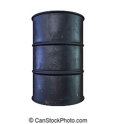 black metal barrel isolated on white background, 3d...