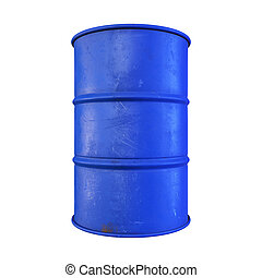 Blue color metal oil barrel, isolated on white background...