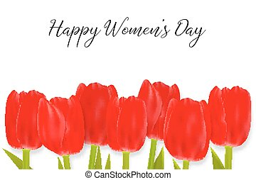 Happy Women s Day Greeting Card with tulips.