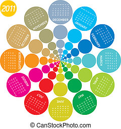 Colorful Circular Calendar 2011 - colorful calendar for 2011...