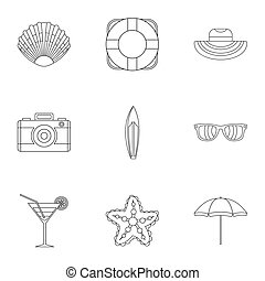 Beach icons set, outline style