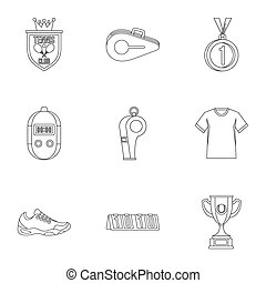 Big tennis icons set, outline style - Big tennis icons set....