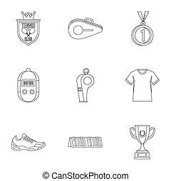 Big tennis icons set, outline style - Big tennis icons set....