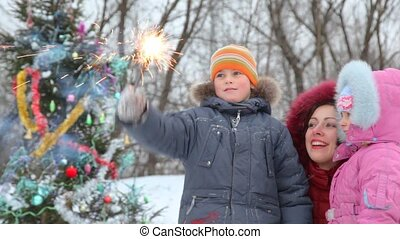 Family with sparkler against decorated Christmas tree -...