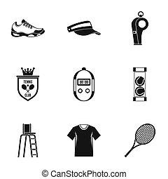Big tennis icons set, simple style - Big tennis icons set....