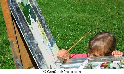 man teaching girl to painting landscape in park