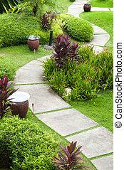 Garden Path - Landscape of oriental garden view