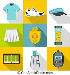 Big tennis icons set, flat style - Big tennis icons set....