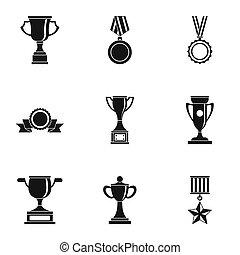 Rewarding icons set, simple style - Rewarding icons set....