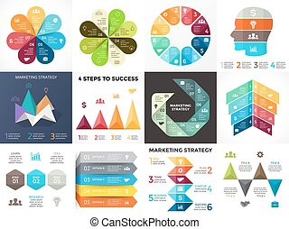Vector circle arrows infographic, cycle diagram, graph, presentation chart. Business concept with 3, 4, 5, 7, 8 options, parts, steps, processes.