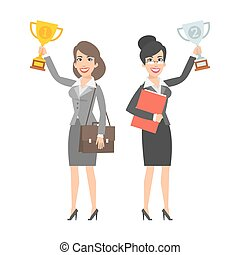 Two businesswomen holding cup and smiling