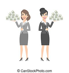 Two businesswomen holding tray with money