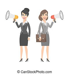 Two businesswomen holding speakers and smiling