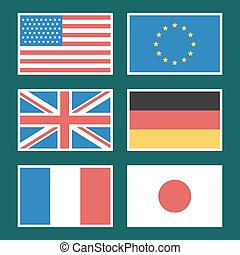 Flag America European Union Germany France - Illustration,...