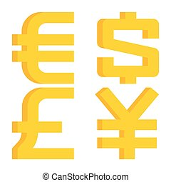 Currency signs euro, dollar, pound sterling, yen -...