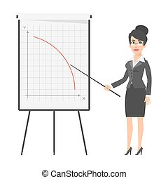 Businesswoman and falling graph