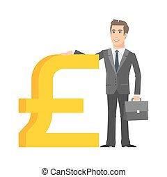 Businessman standing near with pound sterling sign -...