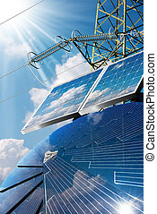 Solar Panels - Power Line and Sun Rays - Group of solar...
