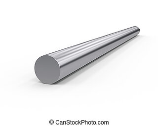 metal rod isolated on white background, 3d rendering,...