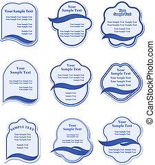 Set of blue labels for design food and beverages
