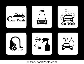 clean icon car wash symbol set - black isolated clean icon...