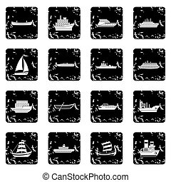 Sea transport icons set in grunge style isolated on white...
